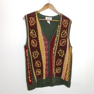 VINTAGE FALL EMBROIDERED SWEATER VEST LARGE